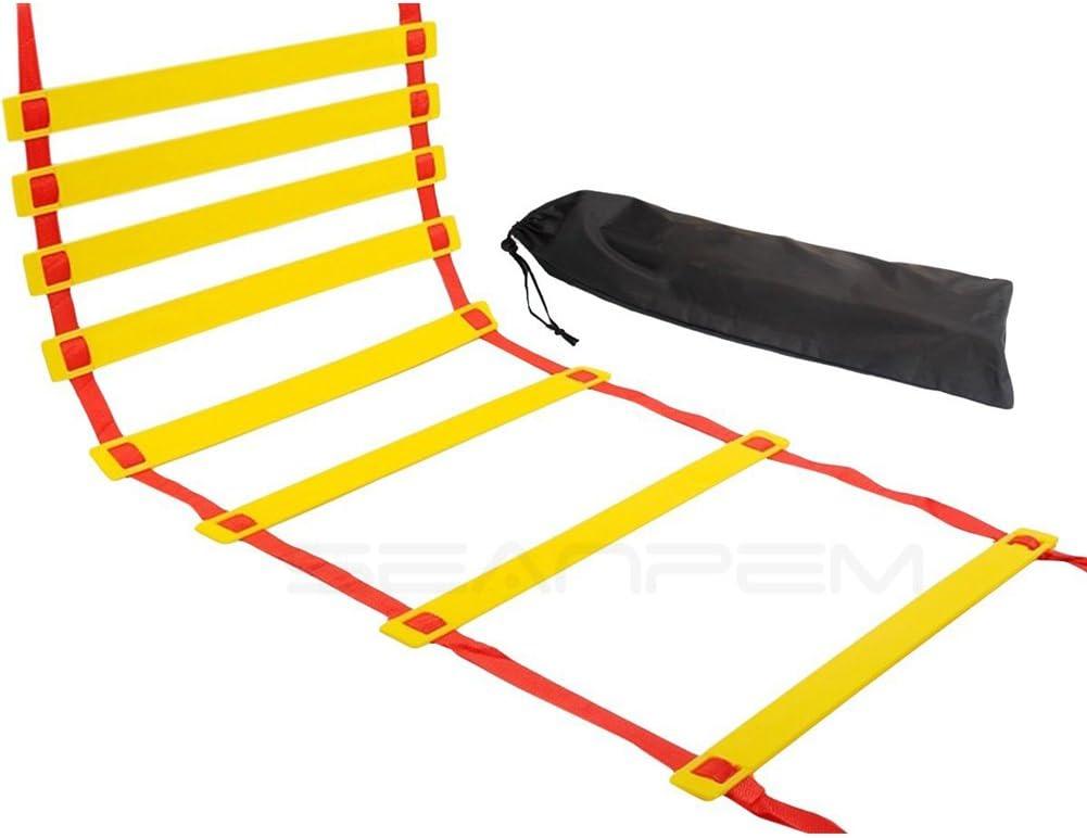 con Bolsa de Almacenamiento 7 m seaNpem Escalera de Entrenamiento de Agilidad 2 Colores 5 m 9 m