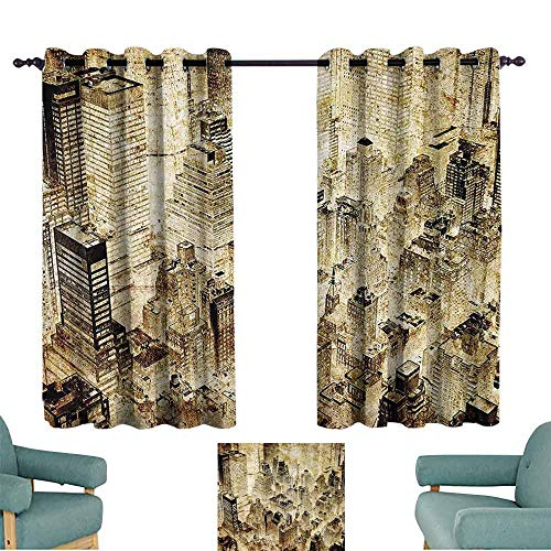 (DILITECK Windshield Curtain Vintage Decor Illuminated High Buildings at Night Luminous USA City Vibrant Lights Alive Town Old Photo Thermal Insulated Tie Up Curtain W72 xL72 Yellow)