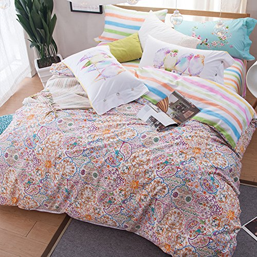 BB.er Cotton Bedding Set Spring and Summer Fresh Style Flower Animal Series Home Textile Set,kaleidoscope,200x230cm