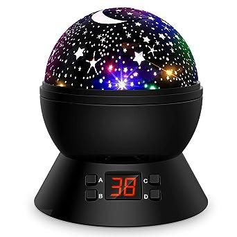 Lámpara Infantil, 360 ° Girar Romántica Lámpara de Noche con 4 LED ...