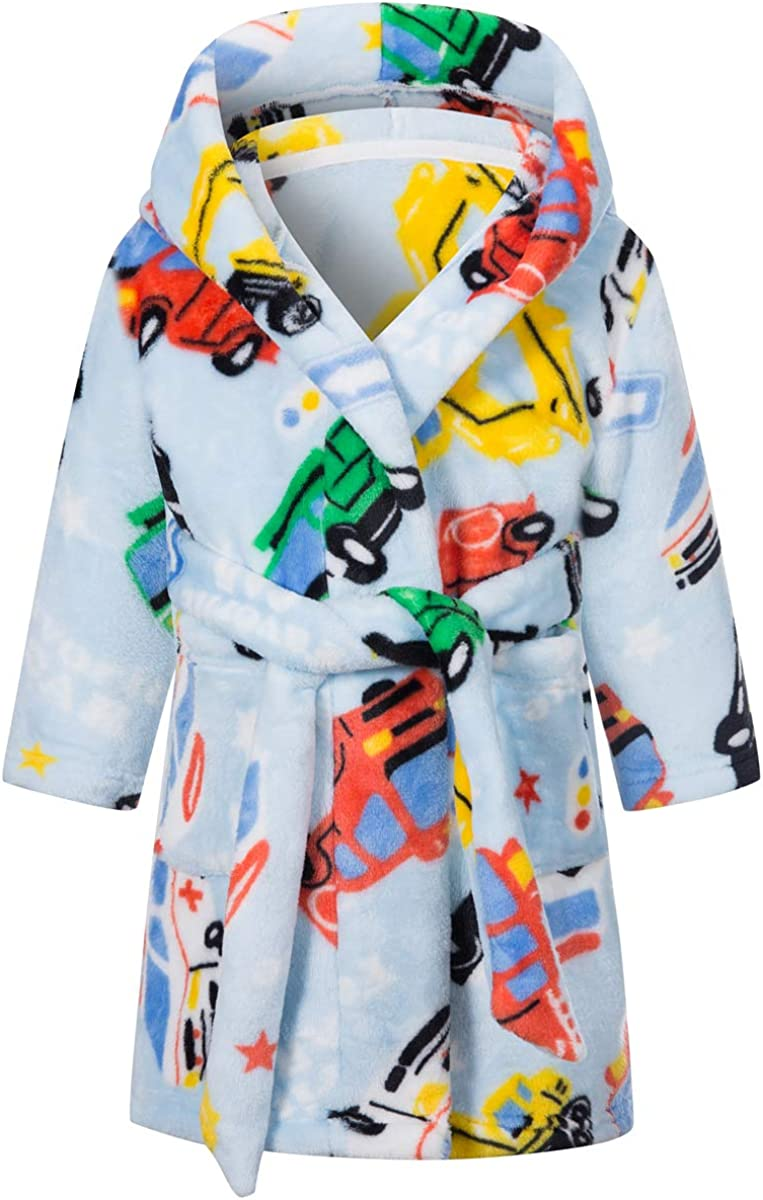 Betusline Boys Soft Fleece Hooded Bathrobe Robe, 12 Months - 12 Years: Clothing