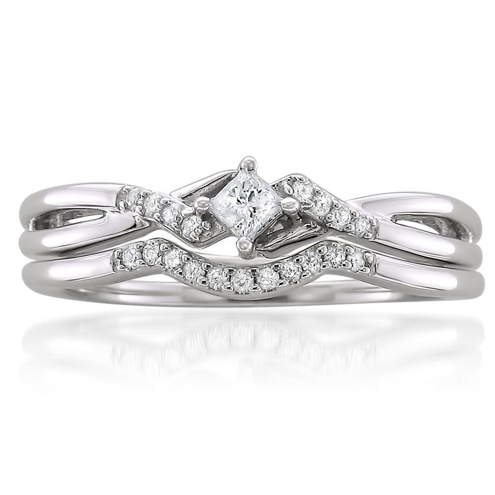 10k White Gold Princess-Cut And Round Diamond Bridal Wedding Ring Set (1/5cttw, H-I Color, I1-I2 Clarity), Size 7