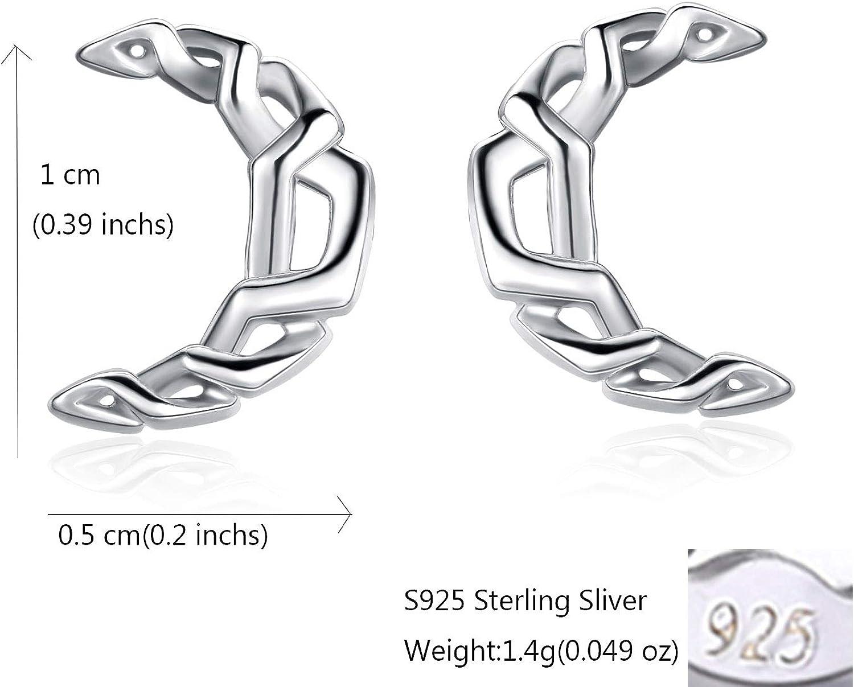 Sterling Silver Moon Dormeuses pour les femmes filles 925 Silver Celtic Knot Crescent Boucles doreilles Body Piercing Bijoux Cadeaux Boxed Tiny Earrings