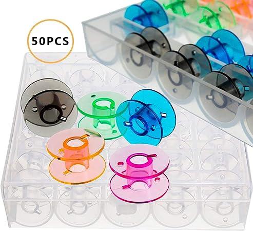 50PCS Canillas Maquina de Coser,OSUTER Canillas Vacias Transparentes Canillas Caja Práctico Bobinas de Plástico pour Singer Brother Janome: Amazon.es: Hogar