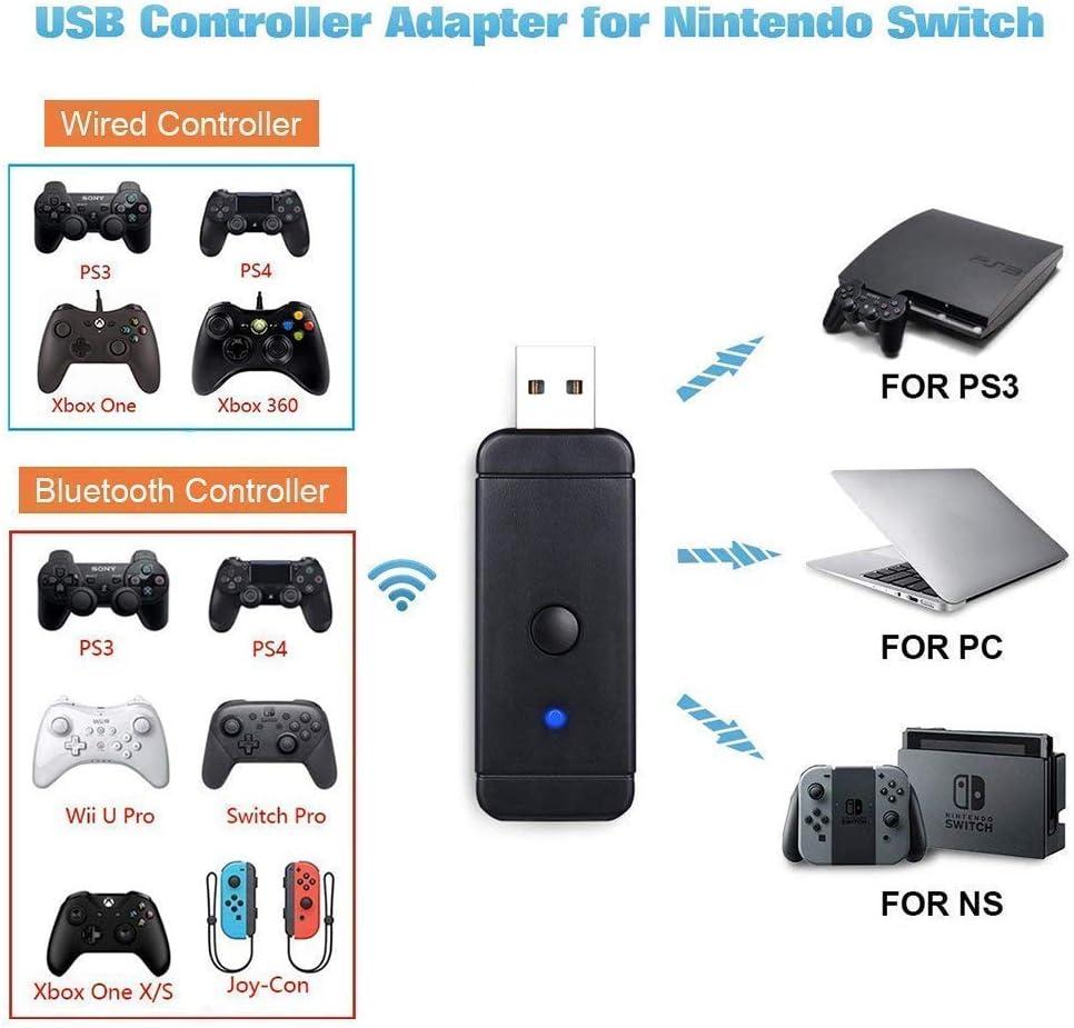 GZW-Shop Adaptador inalámbrico bluetooth convertidor USB para mando Nintendo Switch, Xbox One S / X, Xbox360, PS3 , PS4, Wii U Pro y Windows PC: Amazon.es: Electrónica