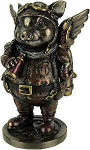 Steampunk Aviator Bronze Toned Flying Pig Figurine, 5 1/4 Inch