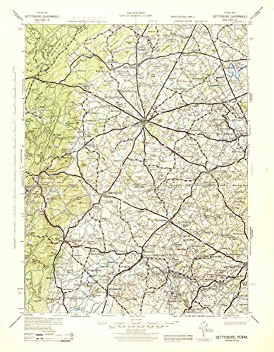 YellowMaps Gettysburg PA topo map, 1:125000 Scale, 30 X 30 Minute, Historical, 1942, Updated 1944, 21.3 x 16.6 in - Polypropylene (Bellevue Fountain)