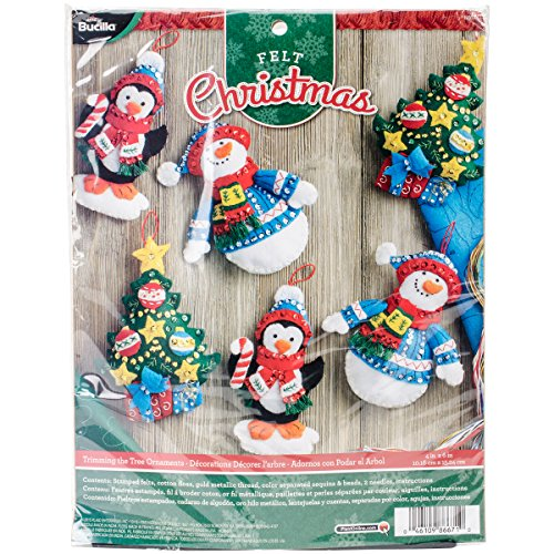 Price comparison product image Bucilla Felt Applique Ornament Kit,  4 by 6-Inch,  86671 Trimming The Tree (Set of 6)