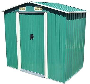 vidaXL Caseta de Almacenaje de Jardín Metal Verde 204x132x186 cm Cobertizo: Amazon.es: Bricolaje y herramientas