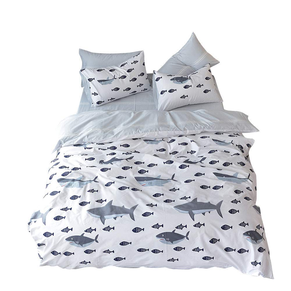 BuLuTu Shark Fish Queen Boys Duvet Cover White Grey 100% Cotton,Ocean Whale Print Reversible Striped Teen Kids Bedding Sets Full/Queen Cotton for Girls with Zipper Closure and Ties,No Comforter by BuLuTu