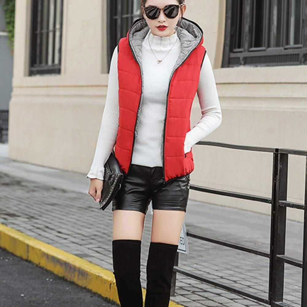 AOJIAN Women Jacket Sleeveless Outwear Hooded Zipper Button Pocket Vest Coat