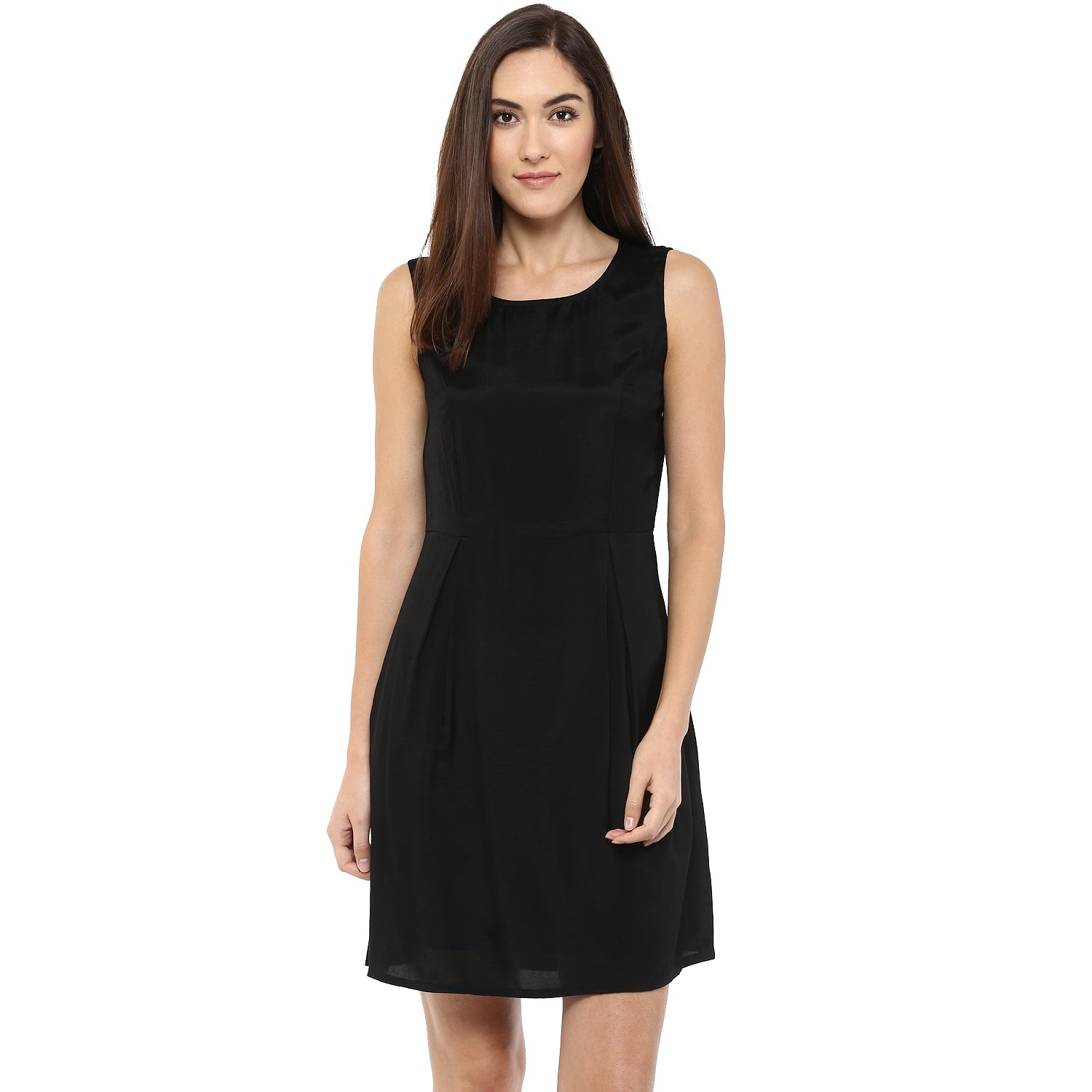 a4300e96c9f 109 F Women Polyester A Line Plain Black Dress  Amazon.in  Clothing    Accessories