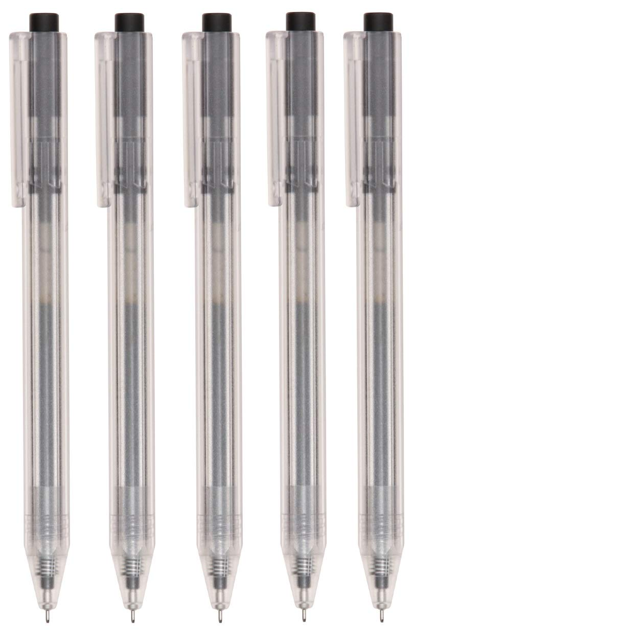 MUJI Japan Hexagon Clear Ball Point Pen Black 0.38mm 5 pcs OfficeCentre