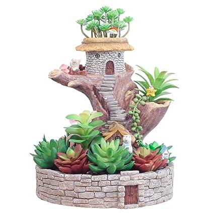 225 & Amazon.com: Creative Cartoon Miniature Tree House Plants Pot ...