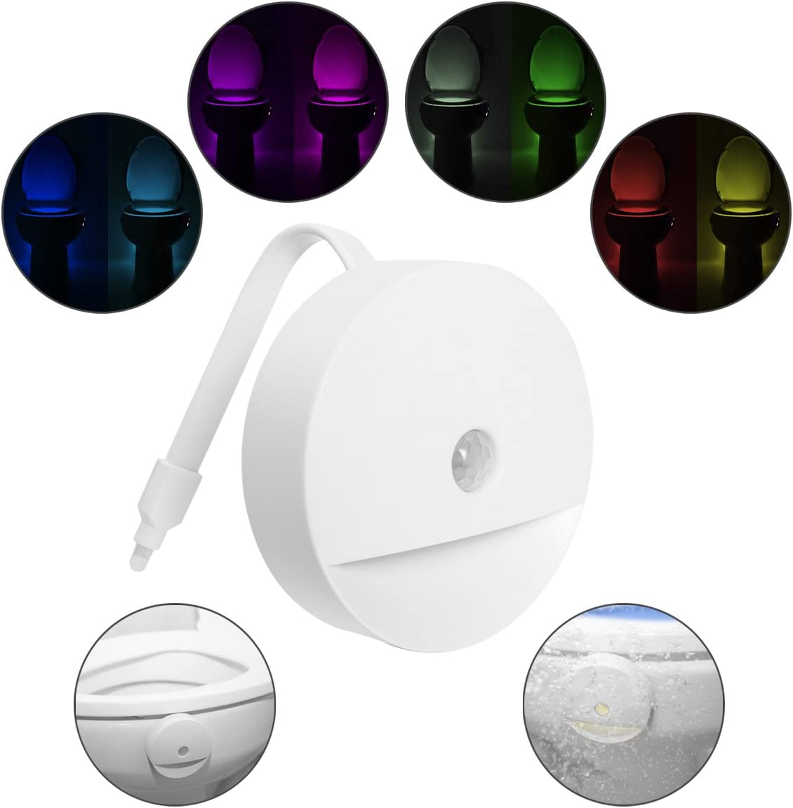 Lusaf Home Toilet Bathroom Human Body Auto Motion Activated Sensor Seat Nights Lamp 8 Color Changes Colorful Motion Sensors Toilet Lights
