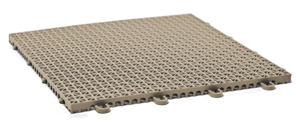 DuraGrid CR12BEIG Cross-Rib Design, Interlocking Modular Self-Draining Multi-Use Safety Floor Matting (12 Pack), Beige