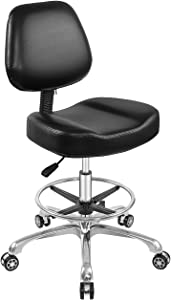 Rolling Stool Adjustable Drafting Chair Heavy Duty with Wheels for Office Home Desk Chair Big Size (with Foot Ring, Black)