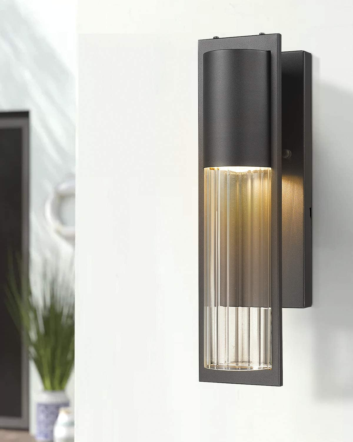 MB9003-1PK Beionxii Outdoor Wall Sconce Transitional One Light Exterior Wall Mount Lights in Sand Textured Black Finish with Clear Ribbed Glass