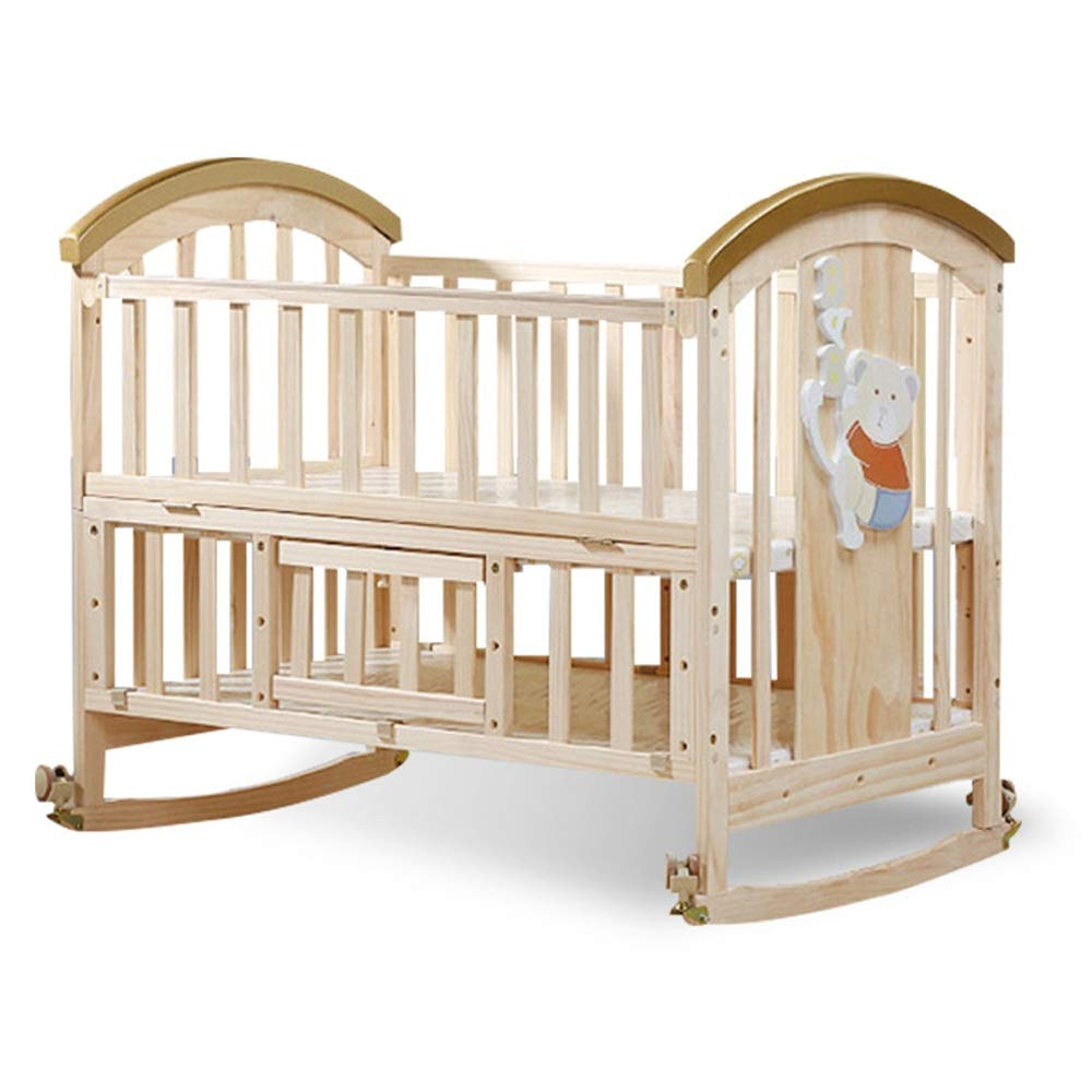 LORGDFDF Baby Cradle Sleeps Very Well 2-Tier Solid Wood Crib Without Paint Adjustable Height Variable Desk Cradle Multifunction Protect Your Baby from Falls (Color : Natural, Size : 1066498cm) by LORGDFDF