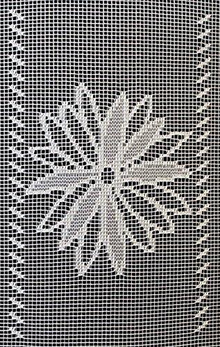 0,15 m Scheibengardine Gardine Blume und Quadrat 50 cm hoch