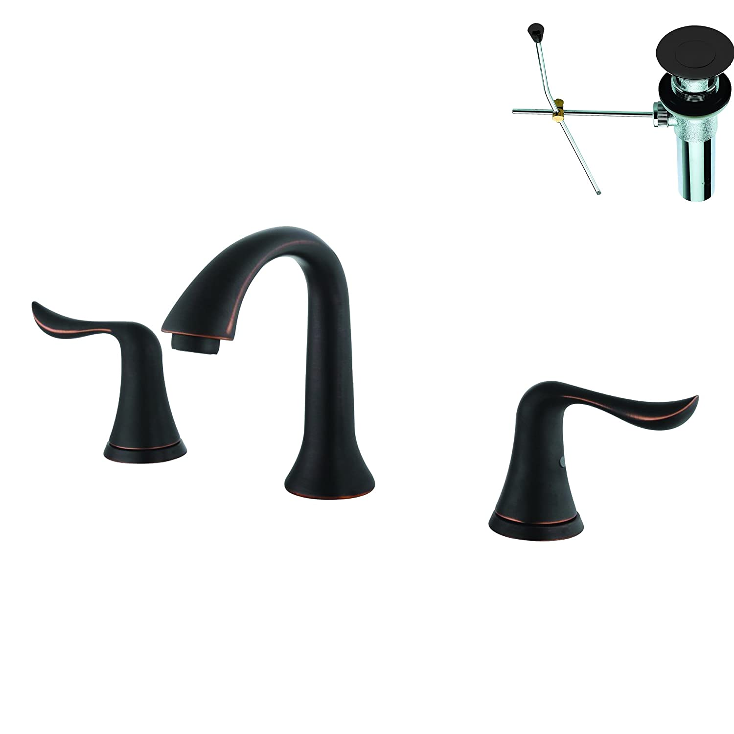 Yosemite home decor double handle widespread faucet with pop up drain - Yosemite Home Decor Yph3208vf Orbwd Two Handle Widespread Lavatory Faucet Oil Rubbed Bronze Finish