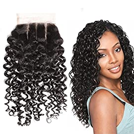 Greatremy Curly Wave 3 Part Lace Closure with Baby Hair Brazilian Human Hair Natural Color