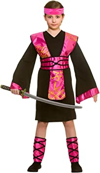 Traje de disfraces de Ninja Assassin negro / rosa de ninjas de niña ...