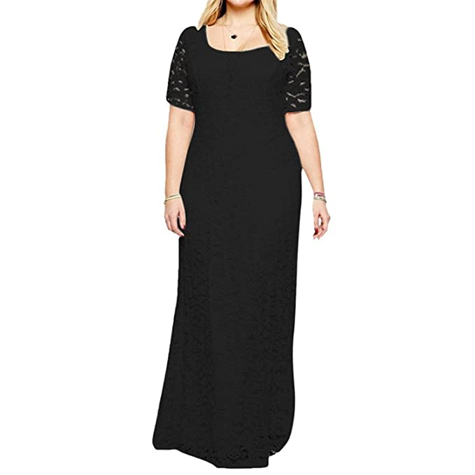 8f158517789b B Dressy Women s Plus Size Short Sleeve Lace Maxi Evening Dress Popular.  BlackMedium