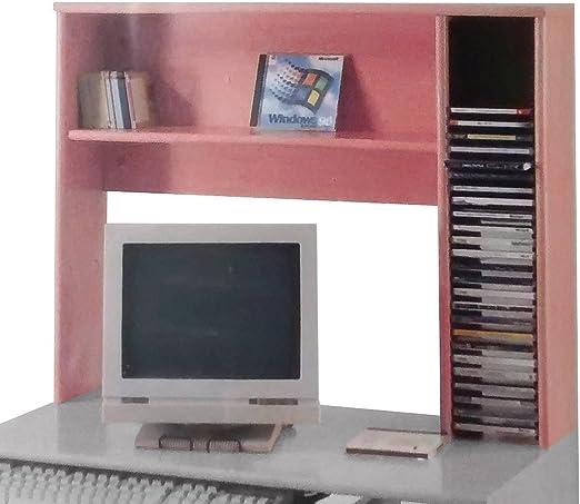 Abitti Estantería con Porta CDs y Estante para acoplar a Escritorio o Mesa Estudio, Cerezo, 80x64 cm.