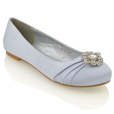 bca3989b4b28 ESSEX GLAM Womens Bridal Flats Silver Satin Pumps Shoes 5 B(M) US