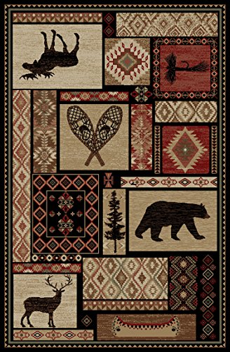 Rustic Lodge Bear Moose Deer Panel 5x8 Red Area Rug, 5'3