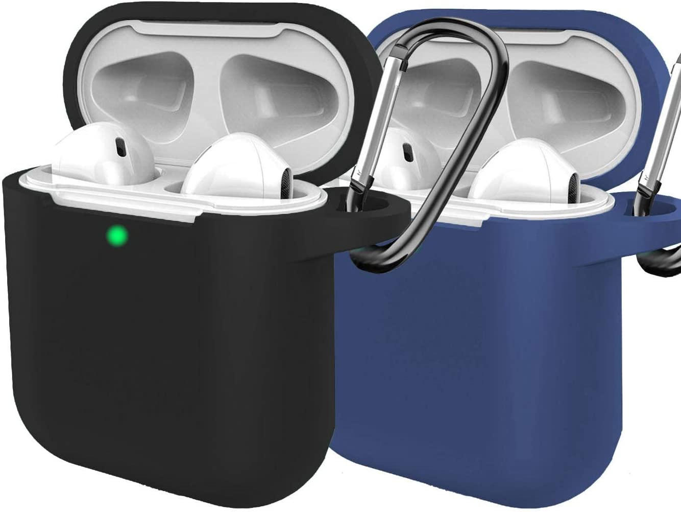 (2 Pack) Silicon Case Compatible AirPods 2&1 Case Cover, [Front LED Visible] with Anti-Lost Carabiner Compatible for Airpods Earbuds Wireless Charging Case for Apple AirPods 2 & 1 (Black+Dark Blue)