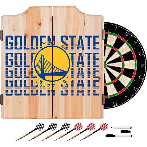 Trademark Gameroom NBA7010-GSW3 NBA Dart Cabinet Set with Darts & Board - City - Golden State Warriors