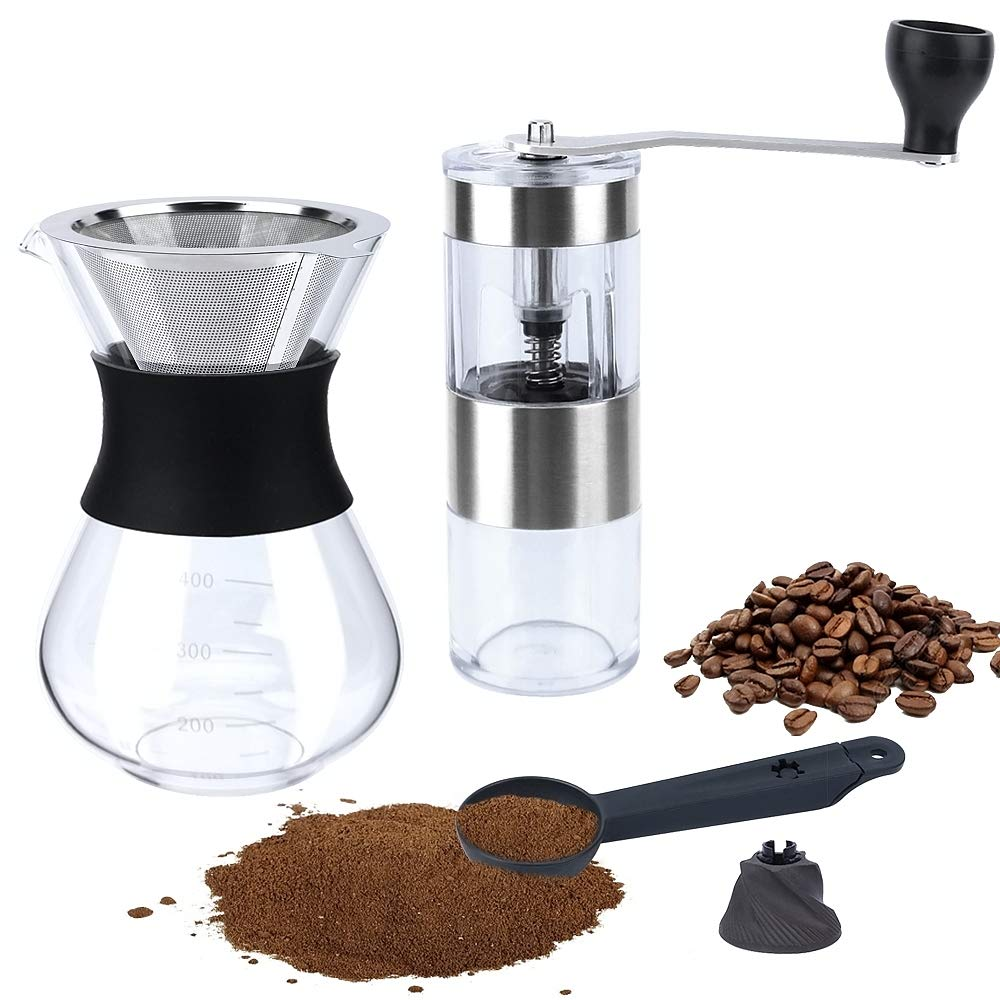 Fecihor Upgraded version Portable Manual Coffee Grinder + Pour Over Coffee Maker set, big screw and Anti-hot design, Pour Over Brewer, Hand Manual Coffee Dripper, Perfect for Traveling to brew Pour Over, Drip, Cold Brew by Fecihor