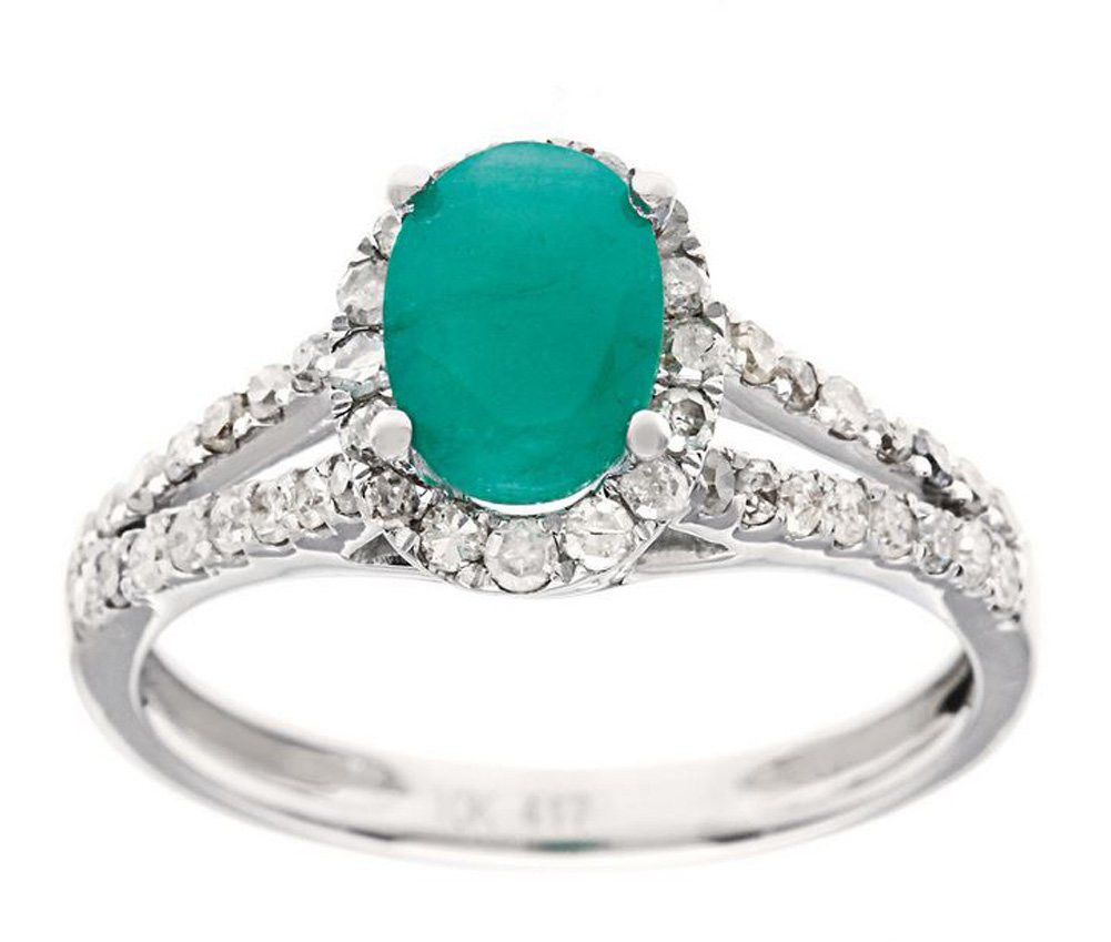 10k Rhodium-Plated White Gold Emerald and Split-Shank Halo Diamond Ring