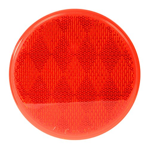 "Grand General 80814 Round Red 3"" Stick-On Reflector for Trucks, Towing, Trailers, RVs and Buses, 1 (Red Reflector)"