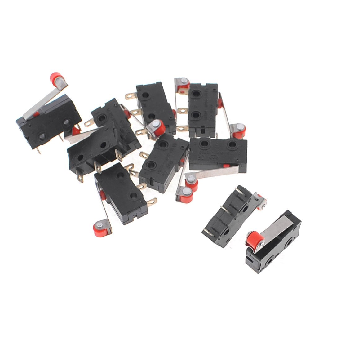 5A 125 250VAC Wheel Hinge Lever SPDT 3 Terminal Micro Switch 10 Pcs Sourcingmap a13112100ux0926