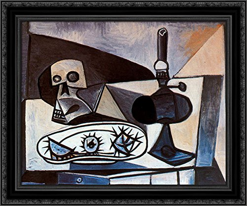 Skull, urchins and lamp on a table 24x20 Black Ornate Wood Framed Canvas Art by Picasso, Pablo (Pablo Table Lamp)