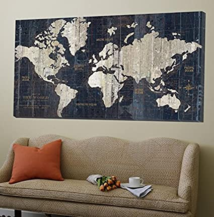 Amazoncom Canvas Print Wall Art Old World Map Blue X In - Old world map wall art in blue