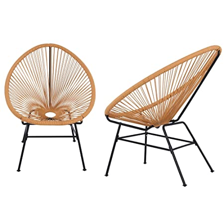 Acapulco Sun Chair Bistro Set Indoor Outdoor All-Weather Oval Weave Lounge Patio Papasan Chair 2 Piece Set, Orange