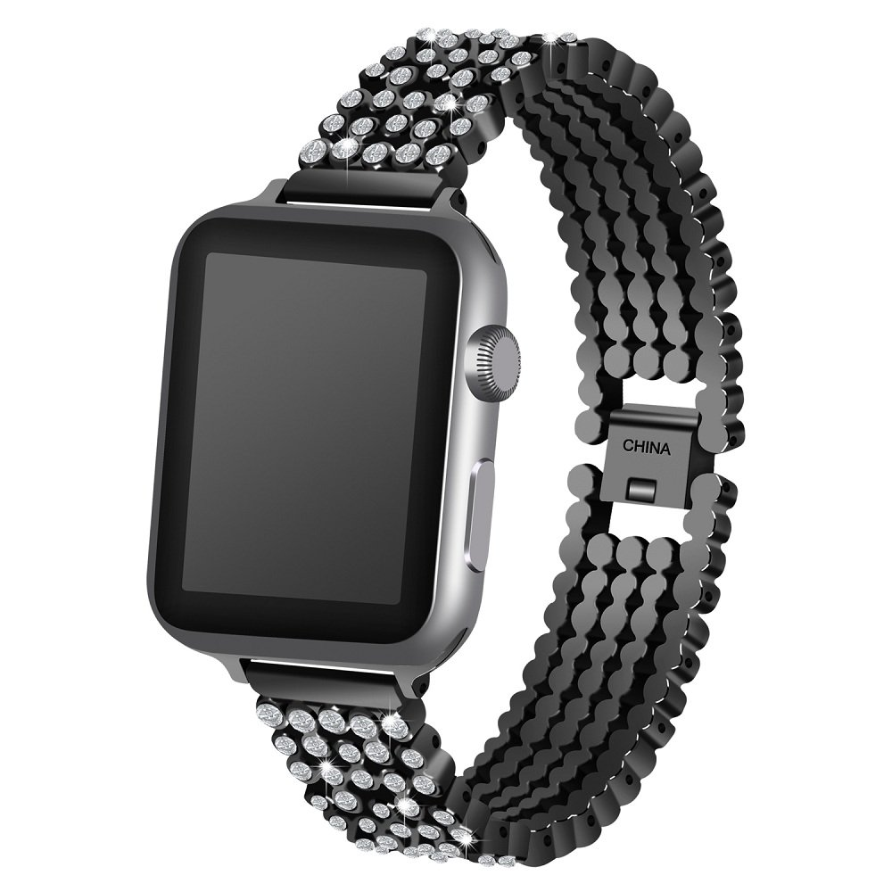 Juzzhou Band For Apple Watch iWatch Series 1/2/3 Sport Edition Replacement Stainless Steel Wriststrap Bracelet Watchband Wristband Wrist Strap Guard With Metal Adapter Clasp For Woman Man Black 42mm