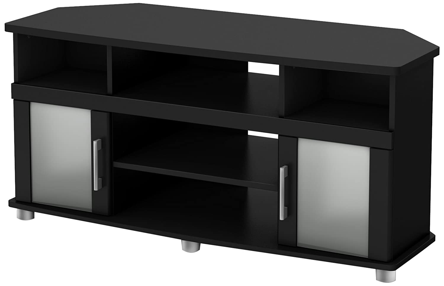 City Life Corner TV Stand – Fits TVs Up to 50 Wide – Pure Black – by South Shore