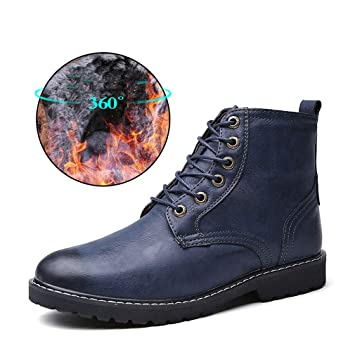 2e6cbf481c22 Amazon.com : HEmei Men's Leather Boots Fall/Winter High-top Casual ...