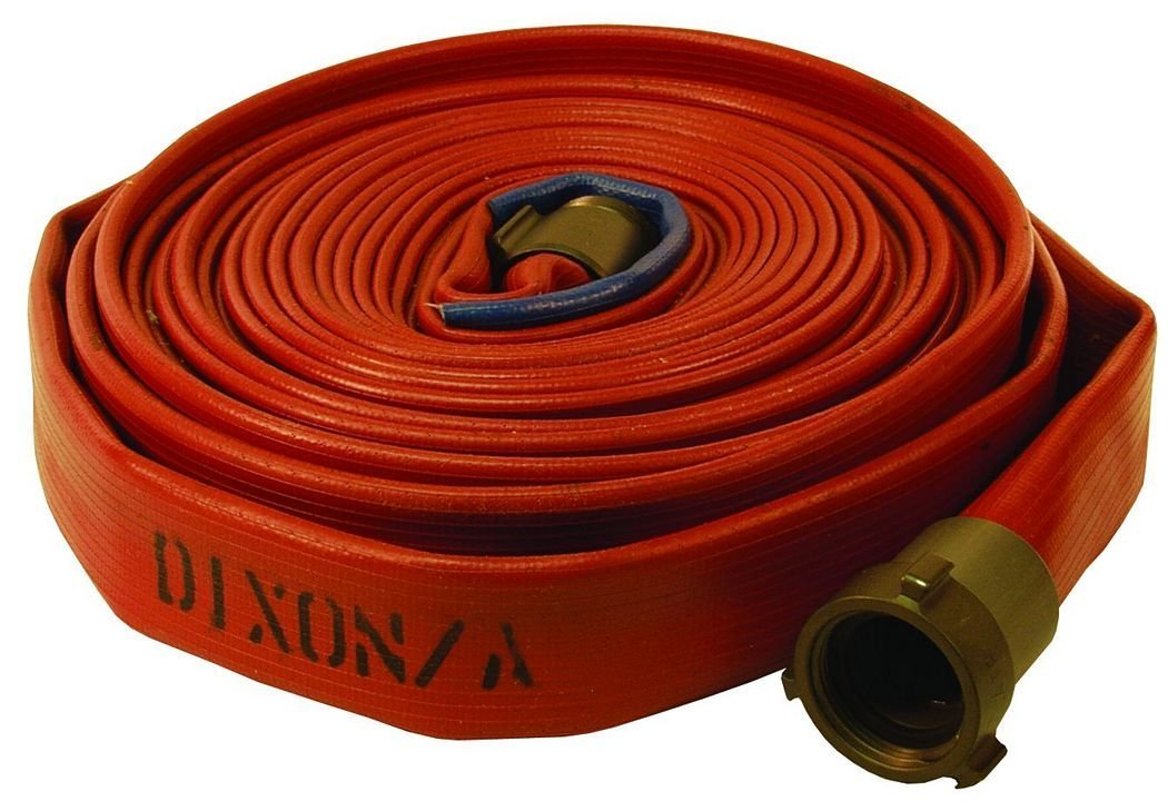 Dixon Valve H515R50RAS Nitrile 500# Covered Light Duty Fire Hose with Aluminum Rocker Lug, NPSH Female x NPSH Male, 225 psi Pressure, 50' Length, 1-1/2'' Hose ID by Dixon Valve & Coupling