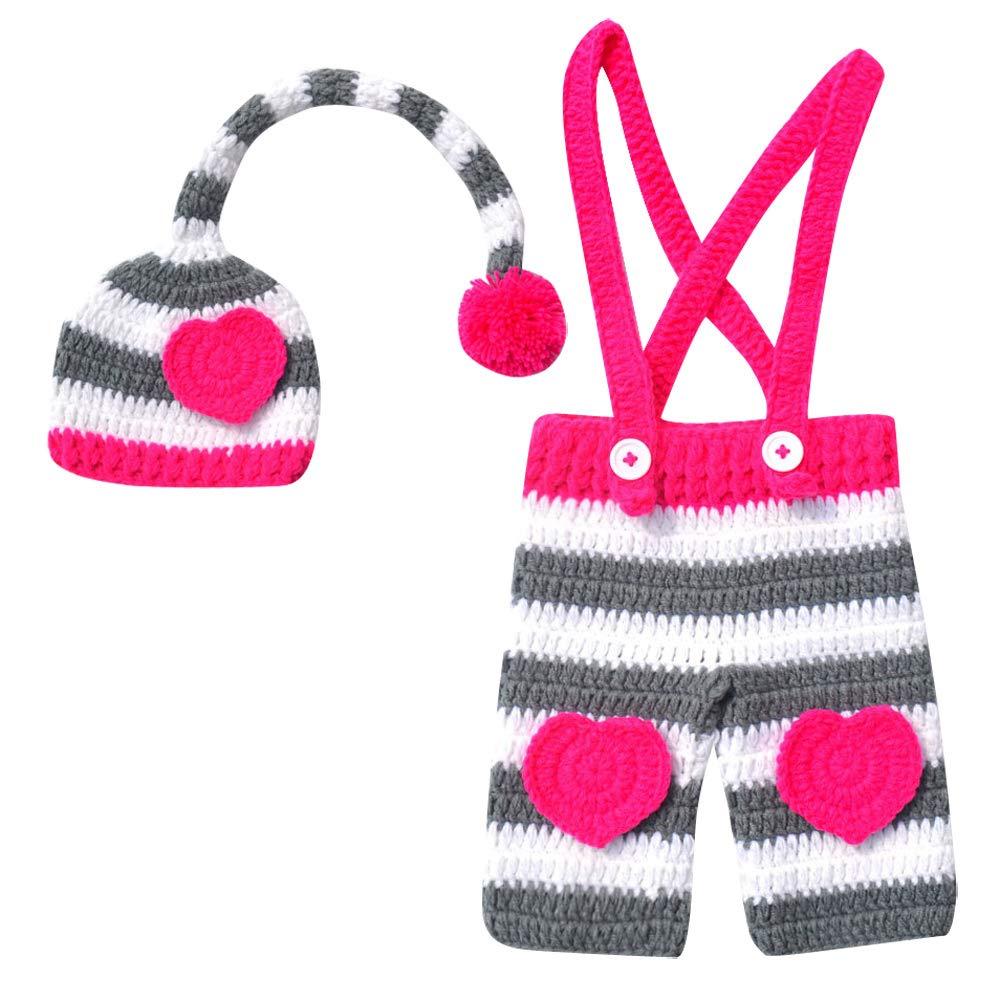 Happy Cherry Baby Fotografie Prop Outfits Kost/üm Hut Neugeborene Kost/üm Cartoon Stricken M/ütze