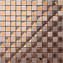 Textured metal mix 13 facets diamond glass mosaic tiles sticker, Aluminium Plastic Panel Self Adhesive/self-stick mosaic tiles for wall, twinkling home decor tiles, LSJ16 (5 pieces | 5 sq.ft/0.5 sqm)
