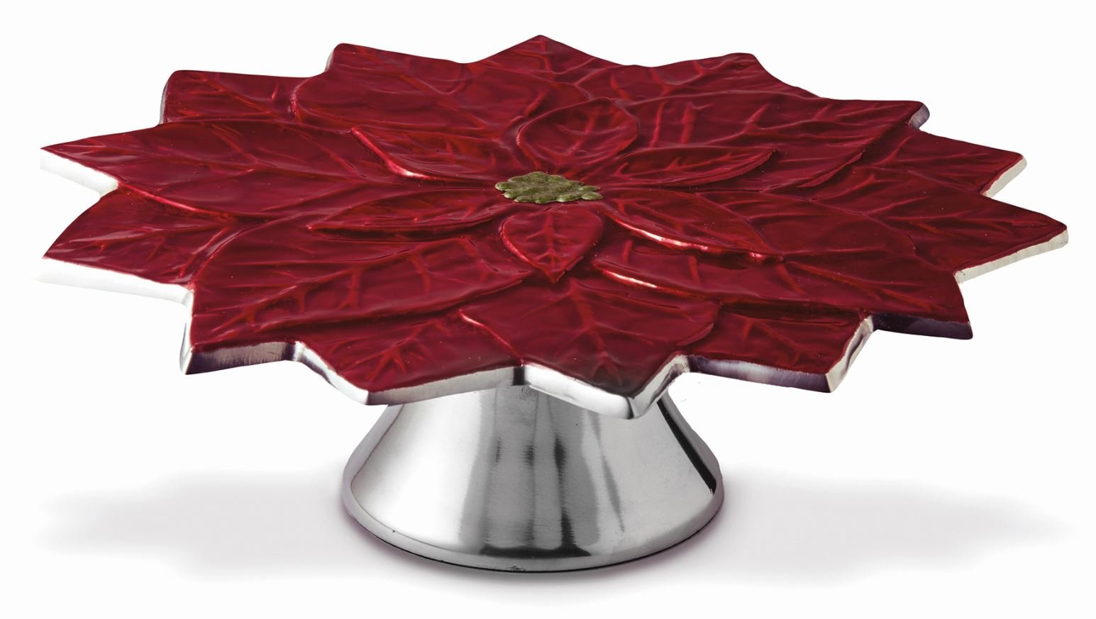 Julia Knight Poinsettia 13'' Cake Stand, Pomegranate, Red