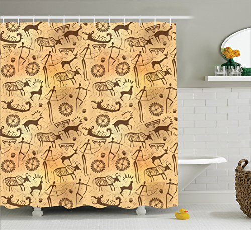 - Ambesonne Primitive Decor Collection, Dated Irregular Caveman Paint Forms with Bird and Cow Shape Early Modern Humans Artwork, Polyester Fabric Bathroom Shower Curtain Set with Hooks, Tan Brown