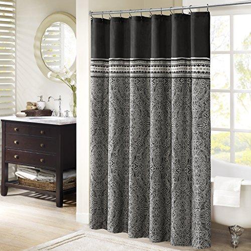 Madison Park MP70-2318 Barton Shower Curtain 72x72 Black (Black Jacquard Shower Curtain)