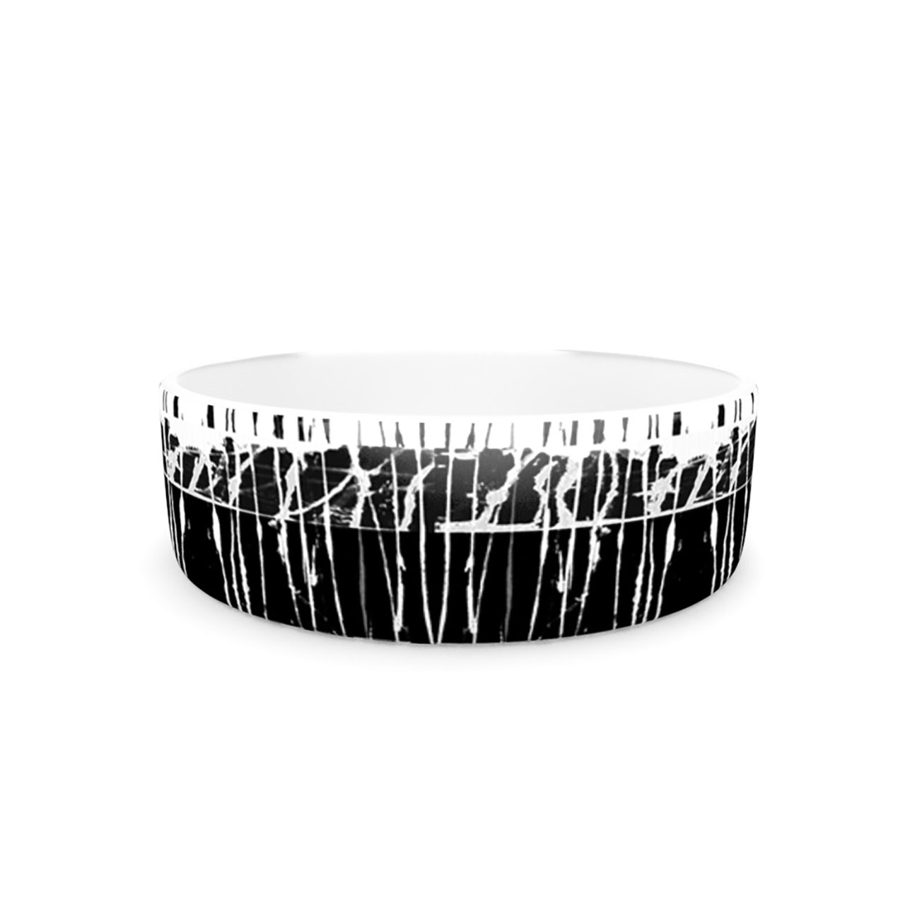 Kess InHouse Nina May Century City Splatter  Pet Bowl, 7-Inch, Black White